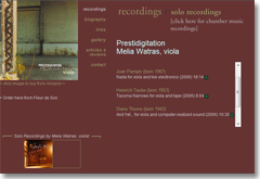 website for melia watras, recordings